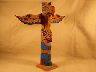Vintage Totem Pole Hand Carved Painted Wood Northwest Coast Indian Signed