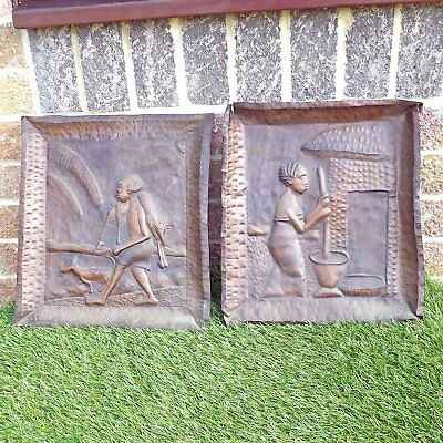 Pair Vintage African Copper Wall Plaques - Tribal Art Hunting & Cooking Scenes