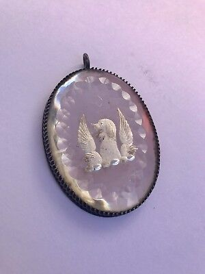 Very Rare Georgian Silver Livery Or Mourning Mirrored Pendant Winged Griffin