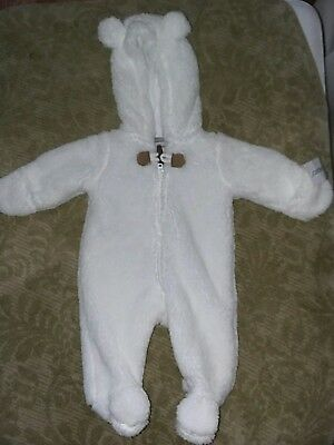 Carter's Newborn Hooded White Fleese Zip up Buntimg Snowsuit Baby Sherpa
