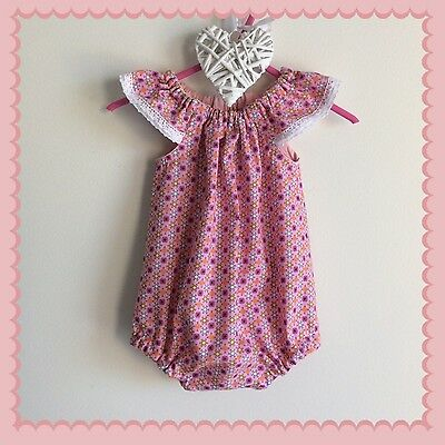 Handmade Pink Baby Girl Flutter Sleeve Summer Rompers  Size 00  Size 0
