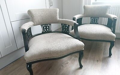 Edwardian Pair of TUB CHAIRS x2 Walnut Antique Clarke & Clarke Cesare Taupe