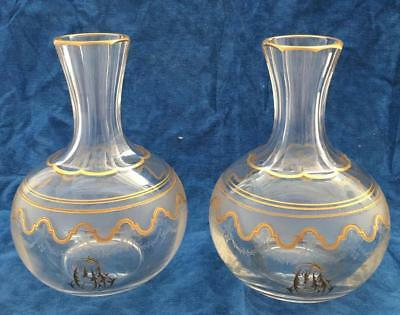 Pair Rare Engraved Etched Monogrammed Decanters French Saint-Louis ? Baccarat ?