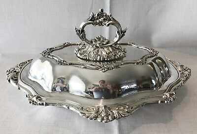 "Victorian 14""  Rococo Style Silver Plated Entree Dish, Martin Hall & Co 1854-66."