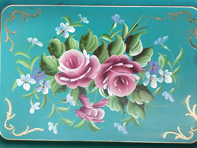 AntiqueVintage Country TOLEWARE Handpainted Floral Serving Tray Shabby Teal Pink