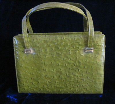 Vintage Palizzio Purse Hand Bag - Ostrich - Green - VERY NICE!
