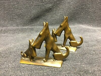 Vintage BRASS DOG BOOKENDS Terrier??