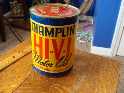 Vintage Champlin Motor Oil Can Gas Service Station No Bottom on the can