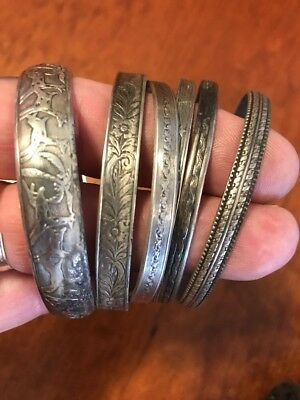 Antique Sterling Silver - Lot of 6 Mixed Bangle Cuff Bracelets Estate Find 68g