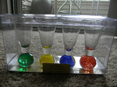 "NEW 4 1/2"" Tall Colored Bubble Ball Bottom Shot Glasses Shooters Cordials"