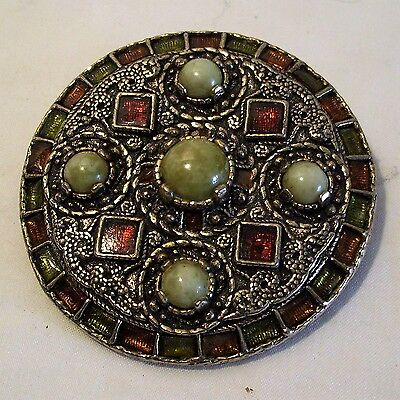 Vintage Art Deco Costume Jewellery Brooch Stone Enamel Makers Mark