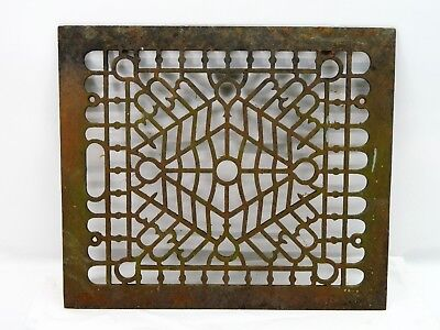 Antique Victorian Metal Cast Iron 14.25 x 12 Floor Grate Heat Vent Register Vtg