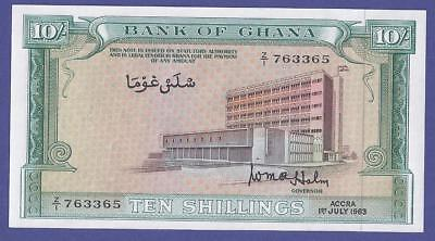 Uncirculated 10 Shillings 1963 Banknote From Ghana