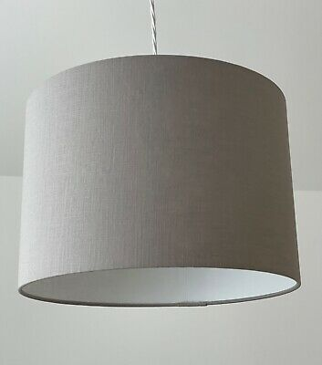 NEW Handmade Grey Textured Linen Drum Lampshade Lightshade Choice of Colours