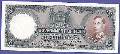 Rare Uncirculated 5 Shillings 1951 Banknote From Fiji. Super High Value !!!