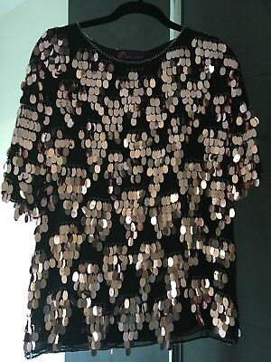 Vintage Silk Blouse Top Silk With Large Sequins And Beads