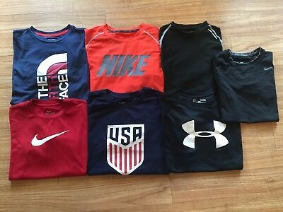 Lot 7 Nike Under Armour boys youth training shirts size L 14-16 North face