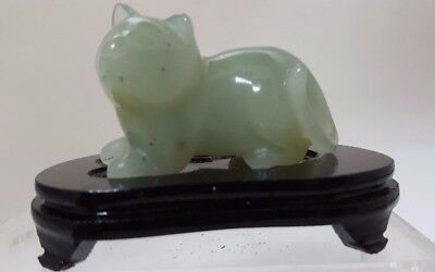 Vintage CAT Serpentine Jade Stone Hand Carved Carving Figurine wood stand Green