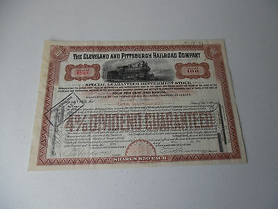 1935 The Cleveland And Pittsburgh Railroad Company Betterment Stock Certificate
