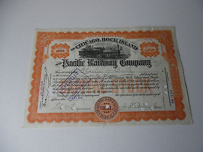 1915 The Chicago, Rock Island And Pacific Railway Company Stock With Stamp