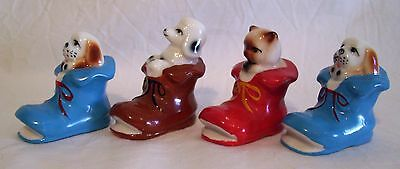 Vintage Porcelain Figurines Miniature Animals In Boots Dog Cat X4 Exc Con