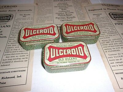Three Very Nice Vintage Ulceroid Advertising Tins with Paperwork ( Empty )