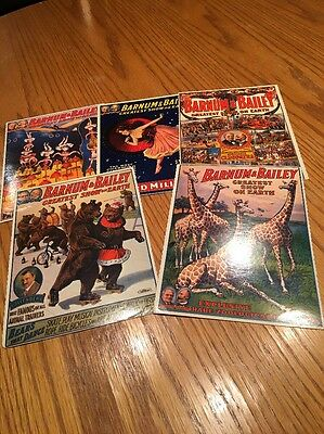 Five Barnum And Bailey Oversized Postcards