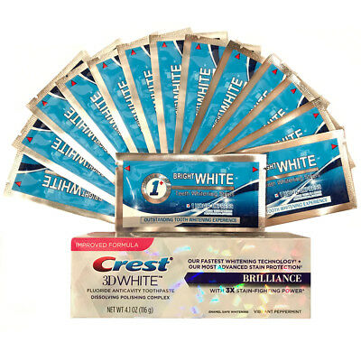 Onuge Teeth Whitening 1 Hour Bright White Strips + Crest3D Brilliance Toothpaste