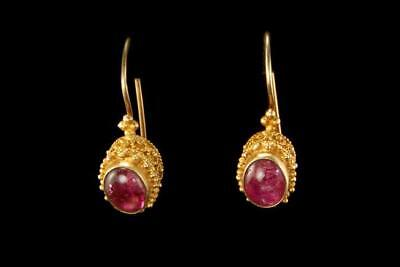 Antique Chinese Pink Tourmaline Gilted Silver Dangle Earrings  D72-08