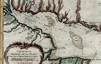 Rio de la Plata Buenos Aires Argentina South America 1757 old vintage color map