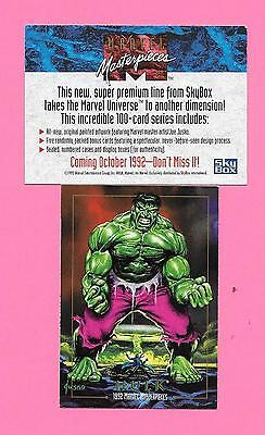 Marvel Masterpieces Promo Card 1992 Hulk.  Excellent Condition