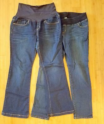Lot of 2 Maternity Jeans - GAP Long & Lean Boot 31/12 Reg and Liz Lange 12 Large