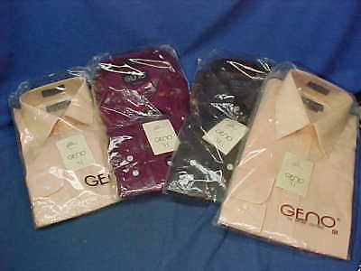 4 MINT in Pack 1980s GENO 51 Brand MENS Dress SHIRTS-14 1/2-15 1/2-17 1/2