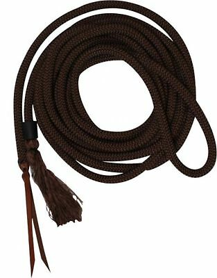 Showman 23' Round BROWN Nylon Braided Mecate Reins W/ Leather Ends! HORSE TACK!