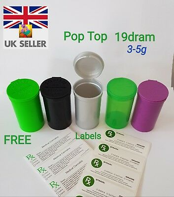 19Dram (3-5G/80Ml) Smellproof Squeeze Top Medical Cannabis Weed Tubs Free Labels