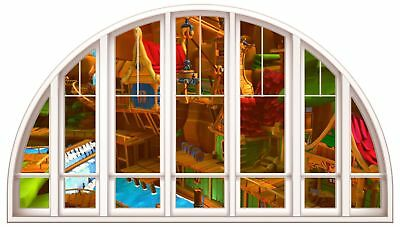 Huge 3D Arched Window Childs Building View Wall Stickers Film Mural Decal 107