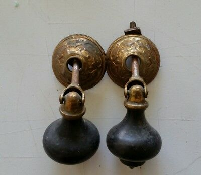 Pair Antique Victorian Tear Drop  Drawer Pulls Handles Wood & Brass (422)