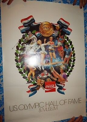 U.s. Olympic Hall Of Fame/museum Vintage Large Color Poster With Coca-Cola Logo