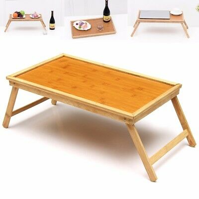 BAMBOO WOOD BED TRAY Breakfast Laptop Desk Tea Serving Table Stand Dinner NEW
