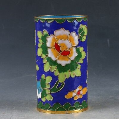 Chinese Cloisonne Handwork Carved Flowers & Butterflies Pen Holder EP0312