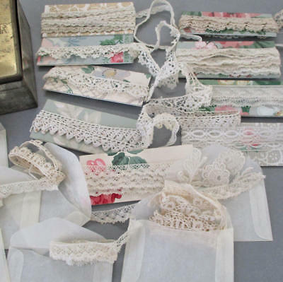 """9 Assorted Vintage French LACE Trims Valenciennes Tatted 3/16""""-5/8"""" 8Yds+ DOLLS"""