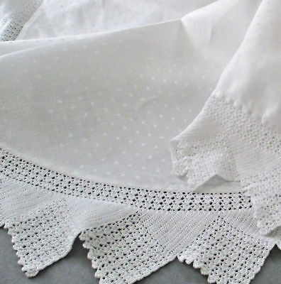 """Antique OVAL Tablecloth Dotted Damask LINEN Handmade CROCHET LACE Trim 78"""" X 56"""""""