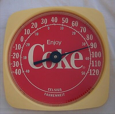 'Enjoy Coke' Red Coca Cola Wall Thermometer on  Plastic Base 1994