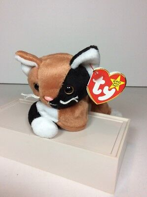 59121fa932f NEW TY Beanie Baby Chip Black Brown Kitty Cat Plush 1996 P.E. RED STAMP  MNWT NOS