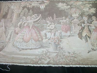 "Vintage Tapestry 38"" by 20"" Wall Hanging Dancing in Garden Scene Made in Belgium"