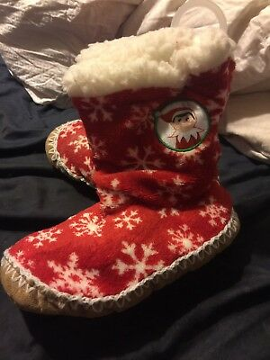 Kids Boys Girls Elf On The Shelf Slippers House Shoes Boots Christmas Size 8-13