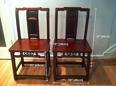 Antique Pair Elmwood Chairs Ming Dynasty