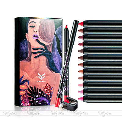 12pcs Lot Set 12 Colors Professional Lipliner Makeup Waterproof Lip Liner Pencil