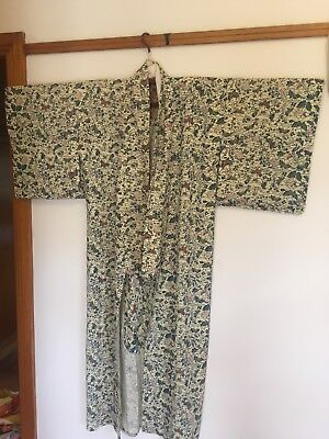 Cream and Blue silk Japanese Kimono (butterfly and flower pattern)