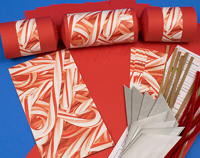 8 JUMBO Candy Cane Make & Fill Your Own Red Christmas Crackers Kit